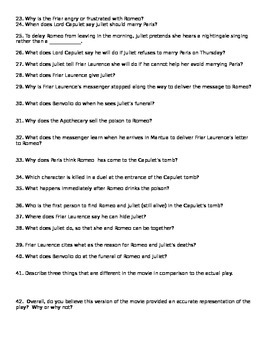 romeo and juliet movie questions and answers