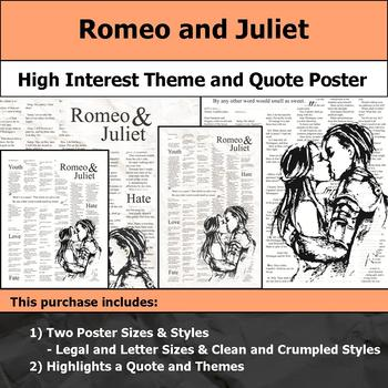 Romeo and Juliet - Visual Theme and Quote Poster for Bulletin Boards