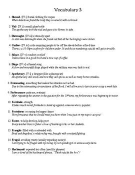 Romeo and Juliet Vocabulary - Teacher's Copy