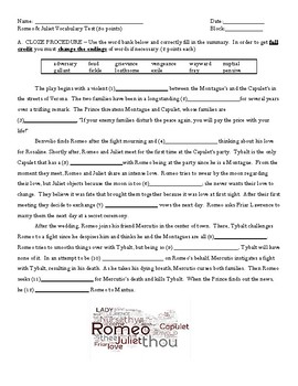 Romeo and Juliet Vocabulary Unit