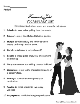 Romeo and Juliet Vocabulary words and quiz