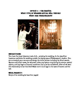 Romeo and Juliet Wedding Plans Activity