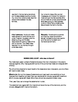 Romeo and Juliet: Who is to Blame Culminating Activity