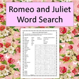 Romeo and Juliet Word Search - No Prep - black and white