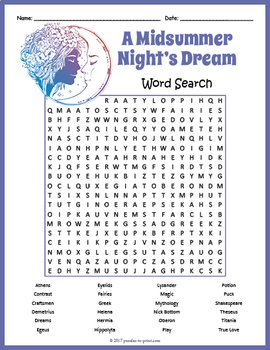 A Midsummer Night S Dream Word Search By Puzzles To Print