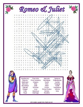 Romeo and Juliet Word Search