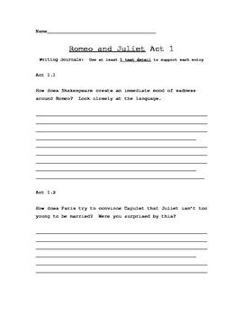 Romeo and Juliet Short Responses Lesson Plan Reader's Notebook