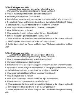 Romeo and Juliet Zefferelli Movie Discussion Questions - Act II
