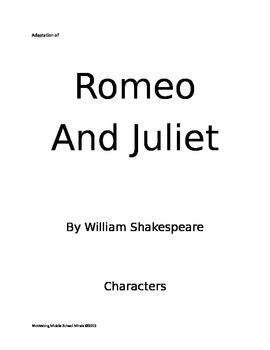 Romeo and Juliet adapted for students with disabilities