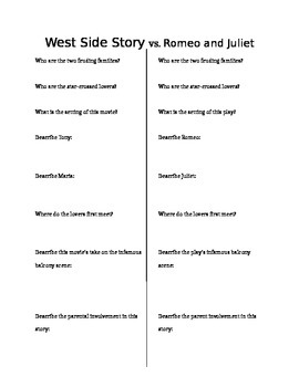 Romeo And Juliet/ West Side Story Compare And Contrast Essay Sample