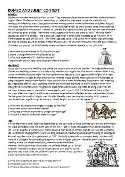 Romeo and Juliet contextual information with questions