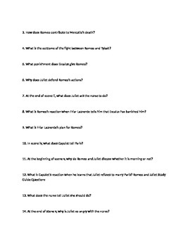 Romeo and Juliet stude guide questions