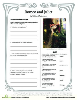 Romeo and Juliet worksheet