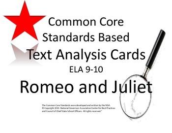 Romeo and Juliet Literary Analysis Task Cards : CCSS : ELA 9-10