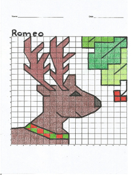 Quadrant 1 Coordinate Graph Mystery Picture, Romeo the Christmas Reindeer