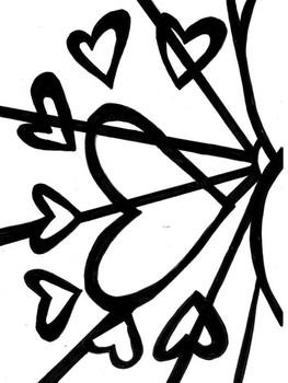 Romero Britto - Hearts Coloring Page - Valentine's Day - FREEBIE!