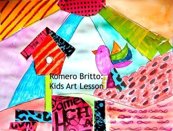 """Art Lesson Romero Britto """"Bird"""" Grades 2-6 Kids Art Lesson"""