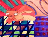 """Art Lesson Romero Britto """"Cat"""" Grades 1-6 Kids Art Lesson"""