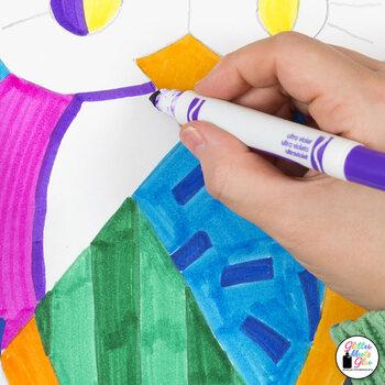 First Week of School | Romero Britto Owls Art History Game {Art Sub Plan Ideas}