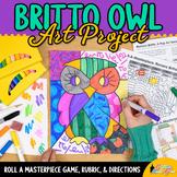 First Week of School   Romero Britto Owls Art History Game   Art Sub Plan Ideas
