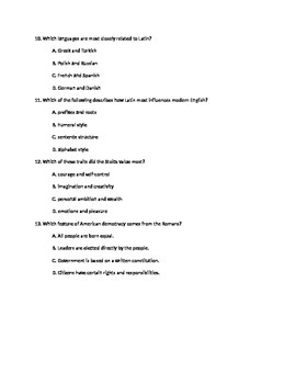 Rome's Impact Test:  13 Multiple Choice and 1 short essay:  Key Included