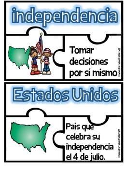 Rompecabezas Vocabulario-Edición #BilingualBlogHop 4 de Julio