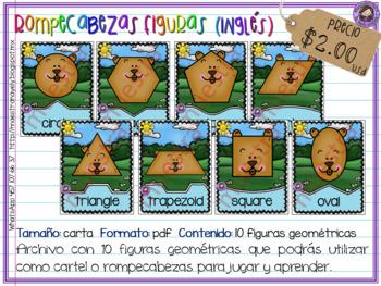 Rompecabezas - cartel de figuras geométricas en inglés