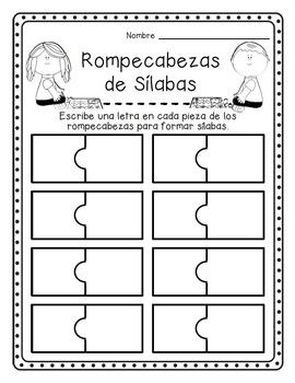 Rompecabezas de Sílabas-Spanish Syllable Puzzles