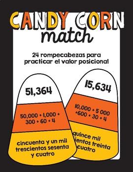 Rompecabezas de valor posicional/ Candy Corn Place Value Puzzles in Spanish