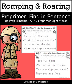 Romping & Roaring Preprimer Sight Words: Find in Sentence