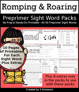Romping & Roaring Preprimer Sight Words Packs