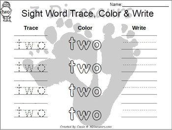 Romping & Roaring Preprimer Sight Words: Trace Color Write