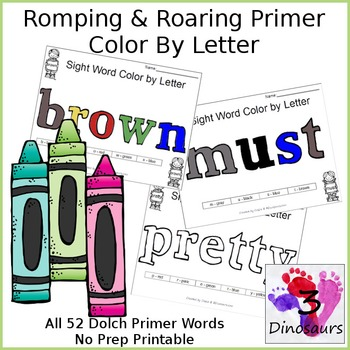 Romping & Roaring Primer Sight Words Color by Letter