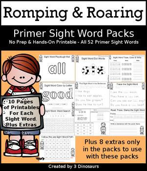 Romping & Roaring Primer Sight Words Packs