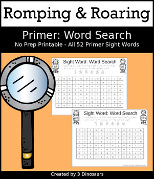 Romping & Roaring Primer Sight Words: Word Search