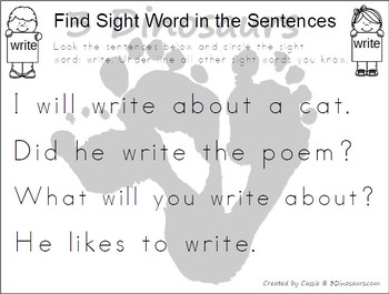 Romping & Roaring Second Grade Sight Words: Find in Sentence