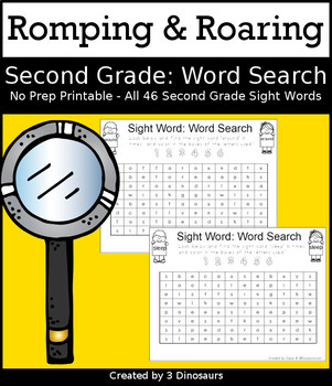 Romping & Roaring Second Grade Sight Words: Word Search