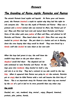 Romulus and Remus the founding of Rome fill the gap activity