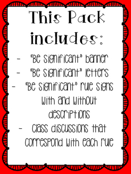 "Ron Clark Academy Essential 55 inspired *Be Significant"" rules 7"