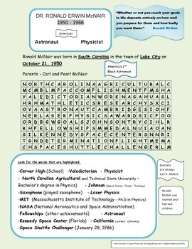 Ronald McNair Word Search