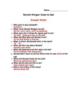 Ronald Morgan Goes to Bat Comprehension Sheet