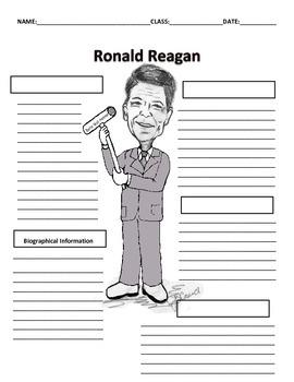 40th President - Ronald Reagan Graphic Organizer