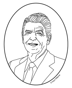 Ronald Reagan (40th President) Clip Art, Coloring Page or
