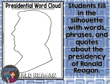 Ronald Reagan Coloring Page and Word Cloud Activity