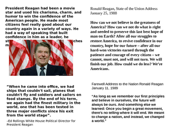 Ronald Reagan: PowerPoint and Slide Notes