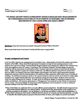 Ronald Reagan: Was Raegonamics Successful? DBQ, Movie Guid