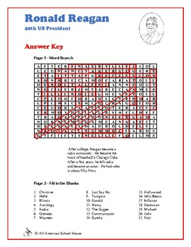 Ronald Reagan - Word Search and Fill in the Blanks