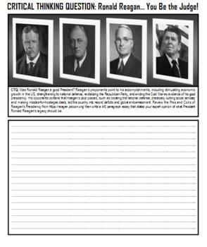 Ronald Reagan Worksheet Pack