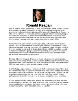 Ronald W. Reagan Article and Assignment