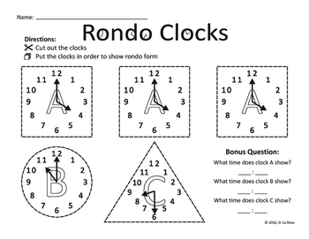 Rondo Form: Clock Worksheet - ABACA, ABACABA, or ABACADA